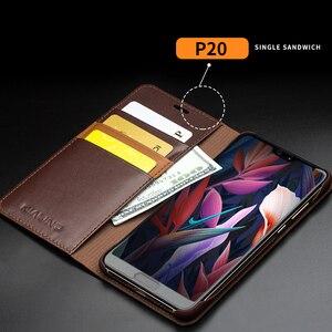 Image 4 - QIALINO funda de teléfono con ranura para tarjetas para Huawei Ascend P20, billetera de cuero genuino de lujo, funda con tapa para Huawei P20 Pro