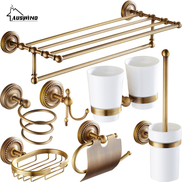 Antique Brass Bathroom Accessories. Antique Brass Bathroom Accessories Carved Bathroom Hardware Set Brushed Wall Mounted Bathroom Hardware Kit