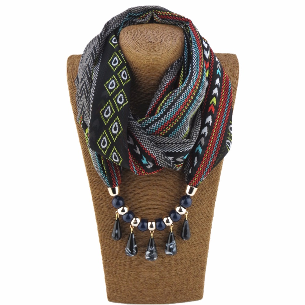 Water drop pendnat necklace women fashion bohemian Scarf Jewelry decoration Ethnic Jewelry Christmas Gift stylish ethnic flowers print voile infinity scarf for women