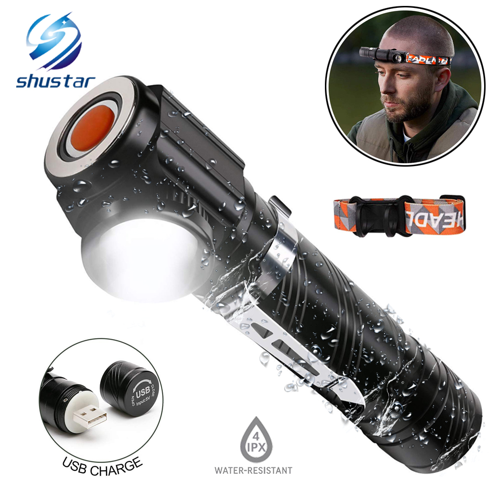Rechargeable Multi-function LED Flashlight Built-in Battery USB Charging With Magnet For Night Riding Night Fishing Camping
