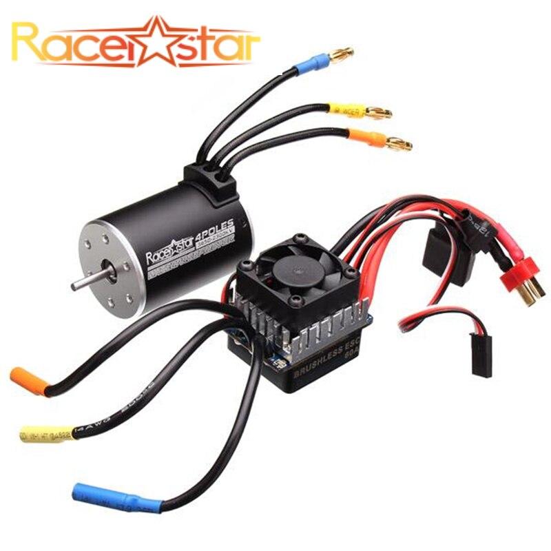 Racerstar 3650 бесчувственный бесщеточный двигатель 60A набор ESC для 1/10 Monster 1:10 грузовик Truggy автомобили