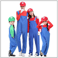 (whole set)Super Mario Luigi Bros cosplay Costume For Kids Funny Party Wear Cute Plumber Mario Set Children girl boy Clothing