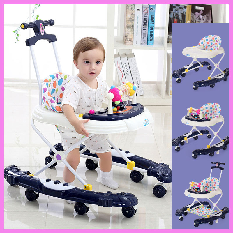 Baby Walker with 8 Wheels Rollover Multifunctional Learning Walker Car with Music 5 Levels Infant Walking Assistant Hand Push прогулочные коляски baby design walker lite