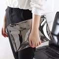 Women Handbag Designer Clutch Bags Handle Ladies Envelop Hand Bag Reflective Leather sac a main Party Club  Clutch Silver Pink