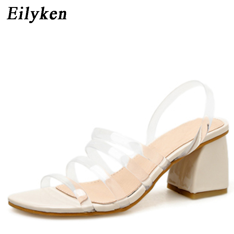 Eilyken 2019 New Womens Sandals Shoes PVC Transparent Sandals Fashion Clear Heels Ladies High Heel Buckle Sandals 7.5cmEilyken 2019 New Womens Sandals Shoes PVC Transparent Sandals Fashion Clear Heels Ladies High Heel Buckle Sandals 7.5cm