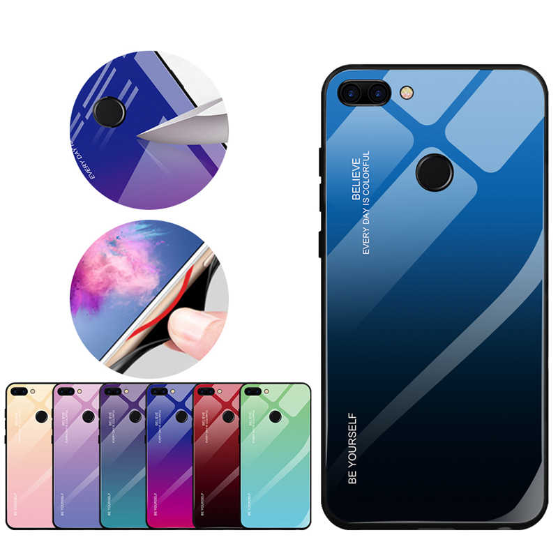 For Huawei P Smart Plus Mate 20 Pro Lite Gradient Phone Cases For Huawei Honor 8X Max 10 9 Lite Note 10 Migic 2 Hard Glass Cover