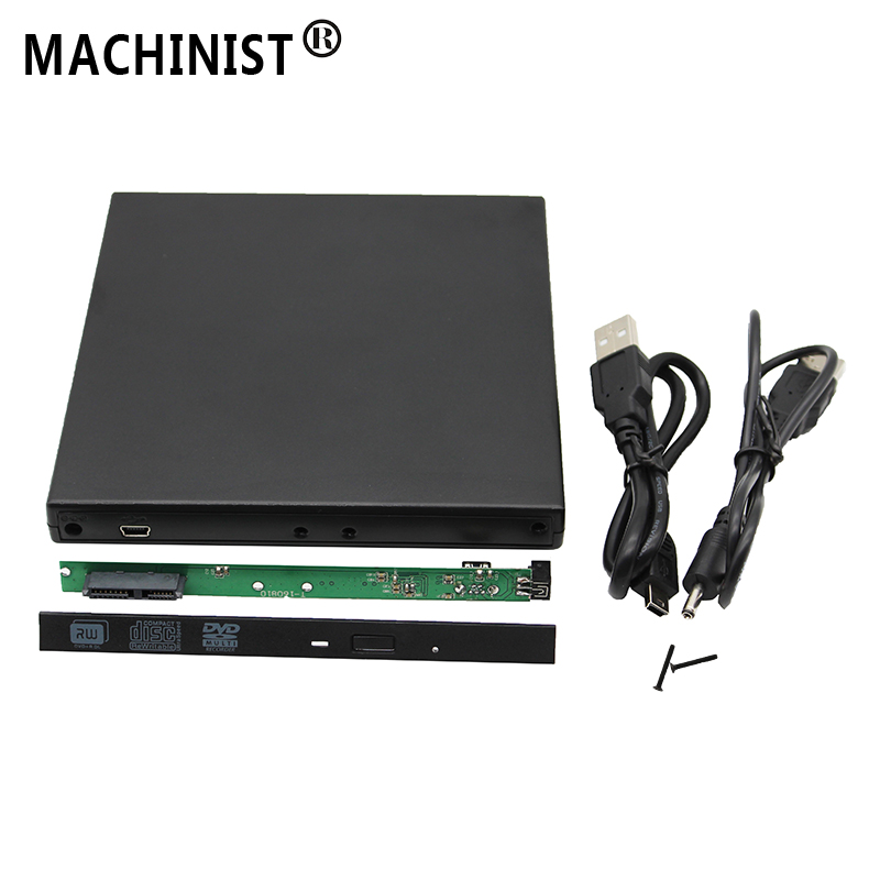 12.7mm USB 2.0 SATA External Drive DVD CD DVD-Rom Case Drive Box For Laptop Notebook External Portable Hard Disk HDD Enclosure