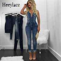 Spring 2018 Sleeveless denim overalls women Jumpsuit Jeans Sexy Bodysuit Women one piece Overall Rompers Girl Pants Jeans Ladies