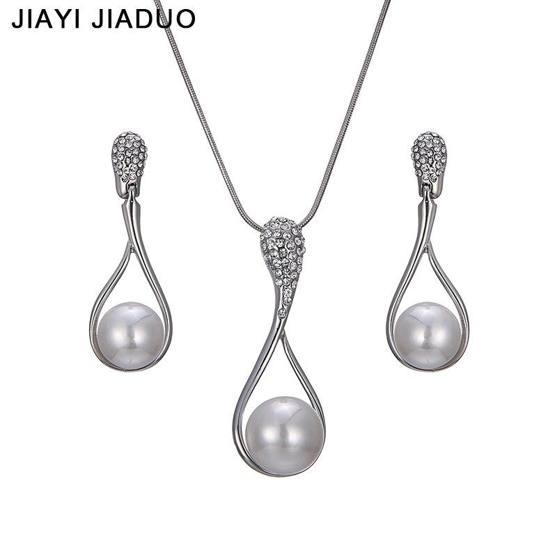 Preiswert Kaufen Jiayijiaduo Mode Braut Schmuck Set Silber Halskette Ohrringe Für Frauen Charme Geschenk Der Hochzeit Party Kleid Verschiffen 2017 Brautschmuck Sets