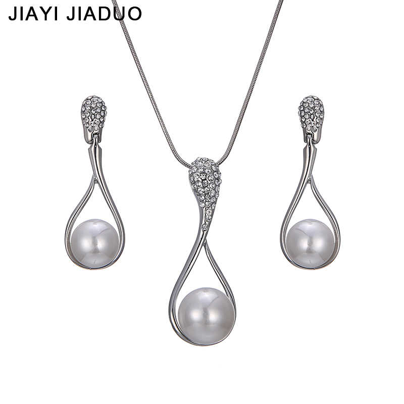 jiayijiaduo Fashion Bridal jewelry set Silver Necklace earrings For women charm gift of Wedding Party dress shipping 2017