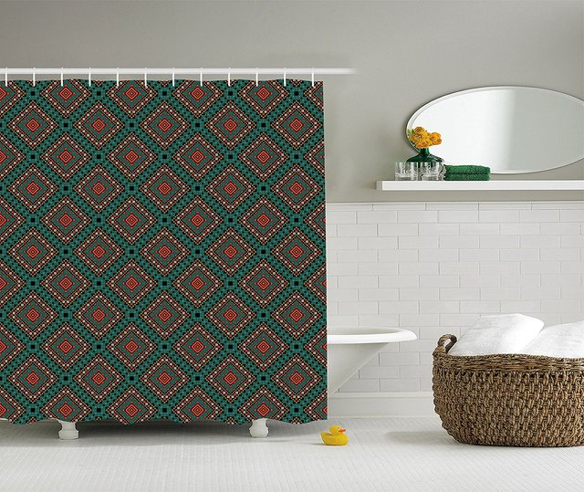 Native American Shower Curtain Ancient Border Ethnic Tribal Symbol Antique Design Tile Pattern Print Fabric Bathroom