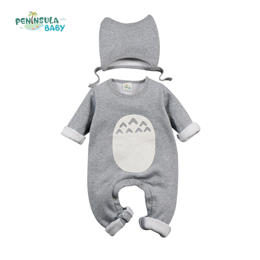 Baby Clothing Set Winter Cotton Baby Rompers Cartoon Totoro Long Sleeve Jumpsuit+Hat Newborn Infant Boy Girl Clothes Costume iyeal 2017 brand baby clothes newborn bodysuit pant bib socks cotton cartoon boy girl clothing set next infant baby costume