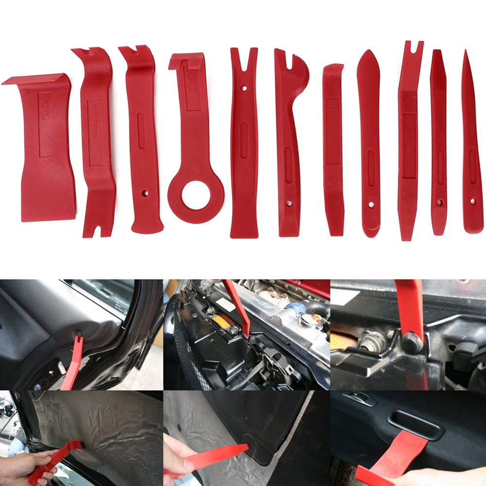 11Pcs Auto Car DIY Car Pry Repair Tool Kit Radio Panel Interior Door Clip Panel Pry Tool Trim Dashboard Removal Opening Tool Set 12pcs set car auto disassembled pry kit stereo refit interior panel molding clip auto removal tool