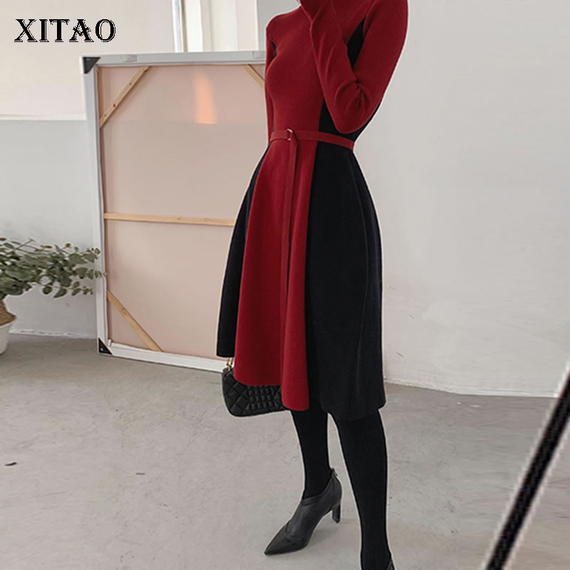 XITAO Elegant Temperament Women Dress French Fashion Spring New Full Sleeve Resist Bandage Patchwork Knitted