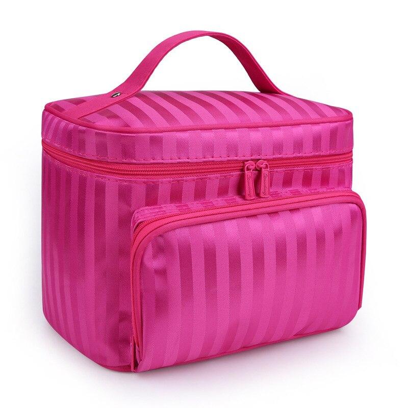 Beauty Woman Cosmetic Bags Striped Pattern Organizer Makeup Bag Folding Travel Toiletry Bag Large Capacity Storage Bag