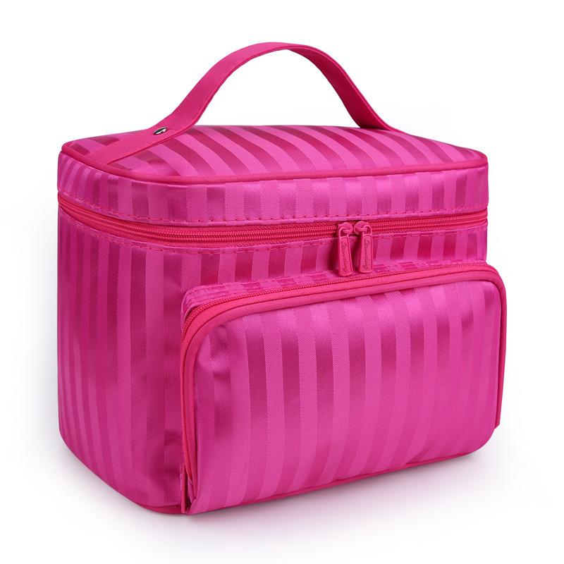 Beauty Woman Cosmetic Bags Striped Patte
