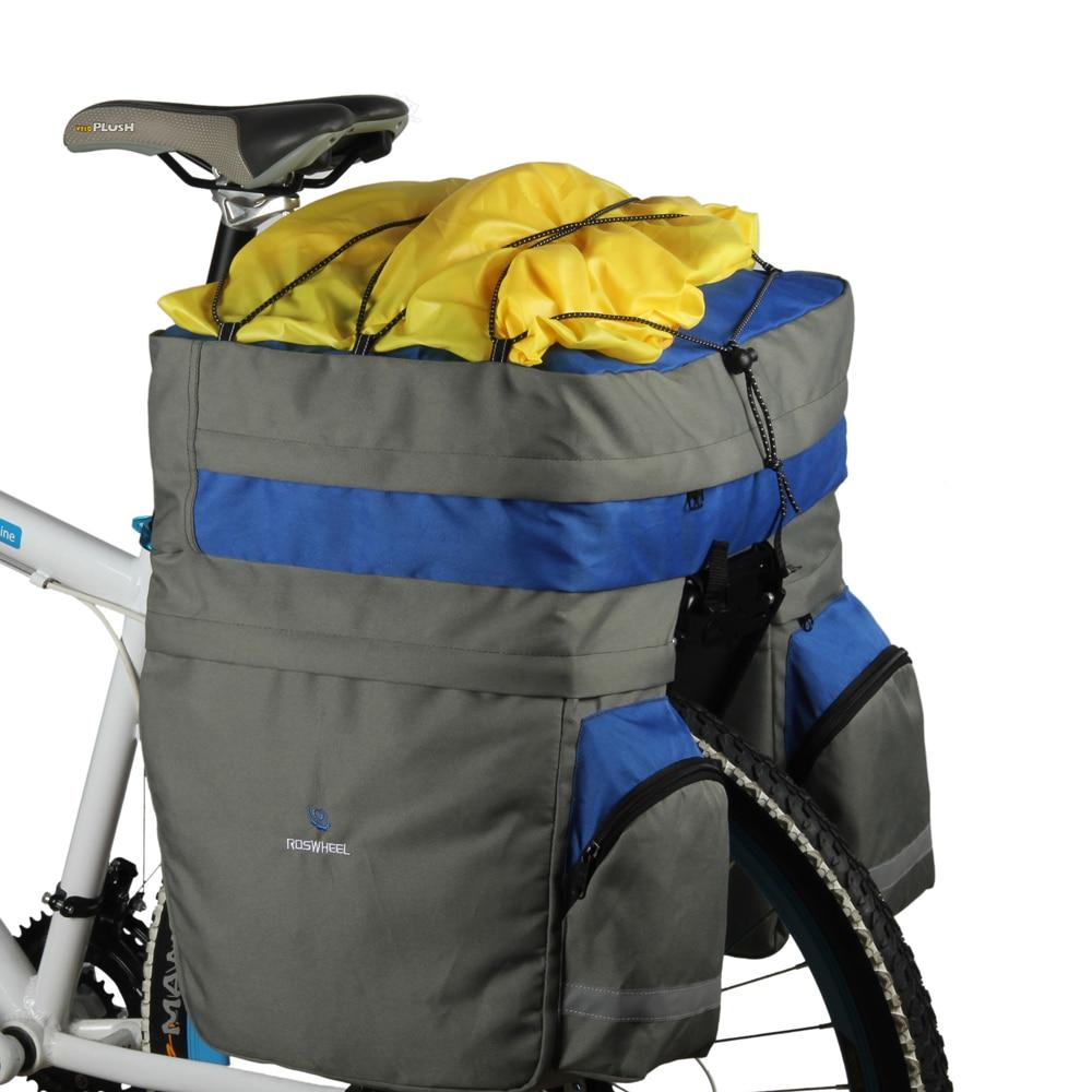 e2ca88fdc68 Roswheel 60L accesorios de bicicleta Bolso Negro Azul Rojo doble asiento trasero  bolsa de maletero Pannier con cubierta de lluvia en Bolsas de bicicleta y  ...