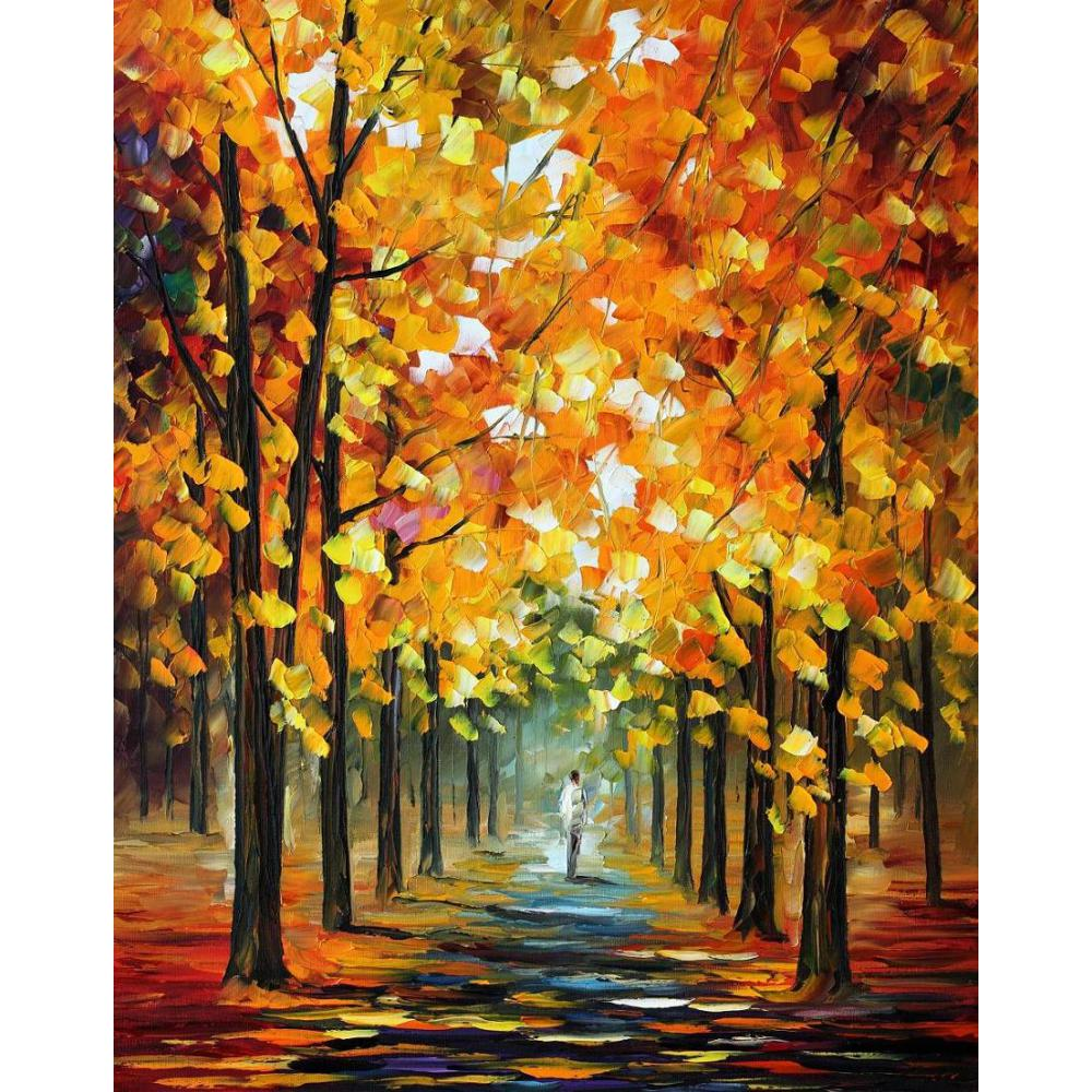 Hand painted Palette knife painting the gold of fall oil on canvas modern art Landscape for room decorHand painted Palette knife painting the gold of fall oil on canvas modern art Landscape for room decor