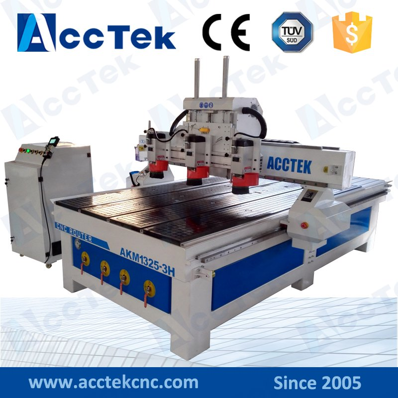 ACCTEK Three 3.5KW Air Cooling Spindle Cnc Carving Machine 1325 Multi Head Cnc Router Wood Machine For Sale