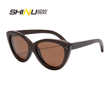 New Fashion Cat Eye Women Sunglasses Bamboo Wooden Sun Glasses With Metal Dots Occhiali Da Sole Donna UV400 Protection Shade