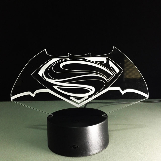 New Colorful Visual Stereo Lamp Superman Vs Batman LED Touch Gradient  Changing 3D Lamp Creative Energy Saving Lamps USB Light
