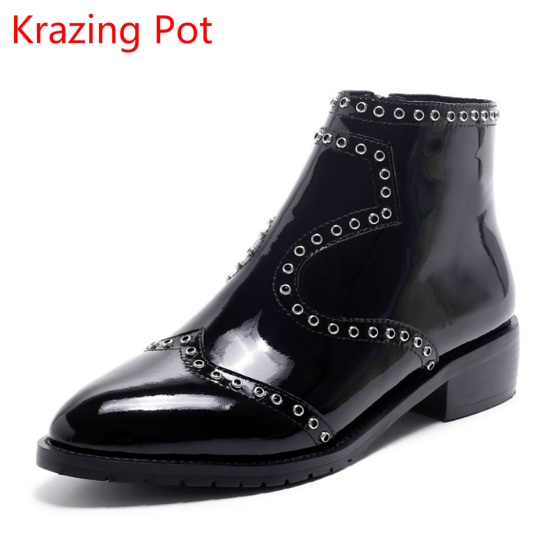 New Arrival Winter Shoes Cow Leather Thick Heel Zipper Pointed Toe Rivets Women Chelsea Boots Handmade Zipper Ankle Boots L39 2018 new arrival fashion winter shoe genuine leather pointed toe high heel handmade party runway zipper women mid calf boots l11