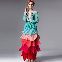 High Quality New 2018 Fashion Runway Maxi Dress Women Long Sleeve Embroidery Beads Cute Colorful Gradient