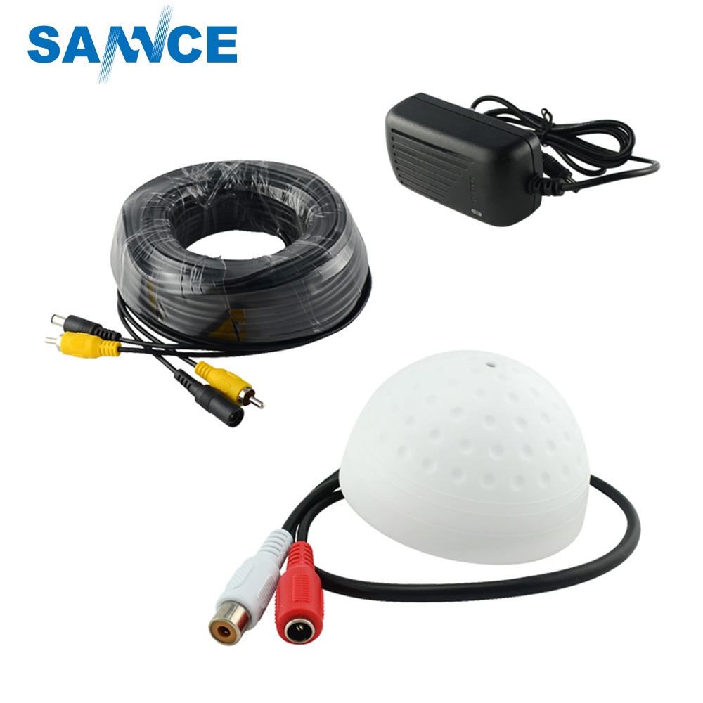 New Hotting ANNKE / SANNCE CCTV High Sensitive Microphone Security Camera RCA Audio Mic DC Power Cable For Home Security System redeagle audio monitor cctv mic microphone rca output for home security camera dvr system