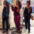 2017 Nuevo Estilo de Los Mamelucos Womens Jumpsuit Otoño Invierno Delgada Trajes de Mujeres Sin Respaldo de Una Pieza Pantalones Largos Mono de Terciopelo