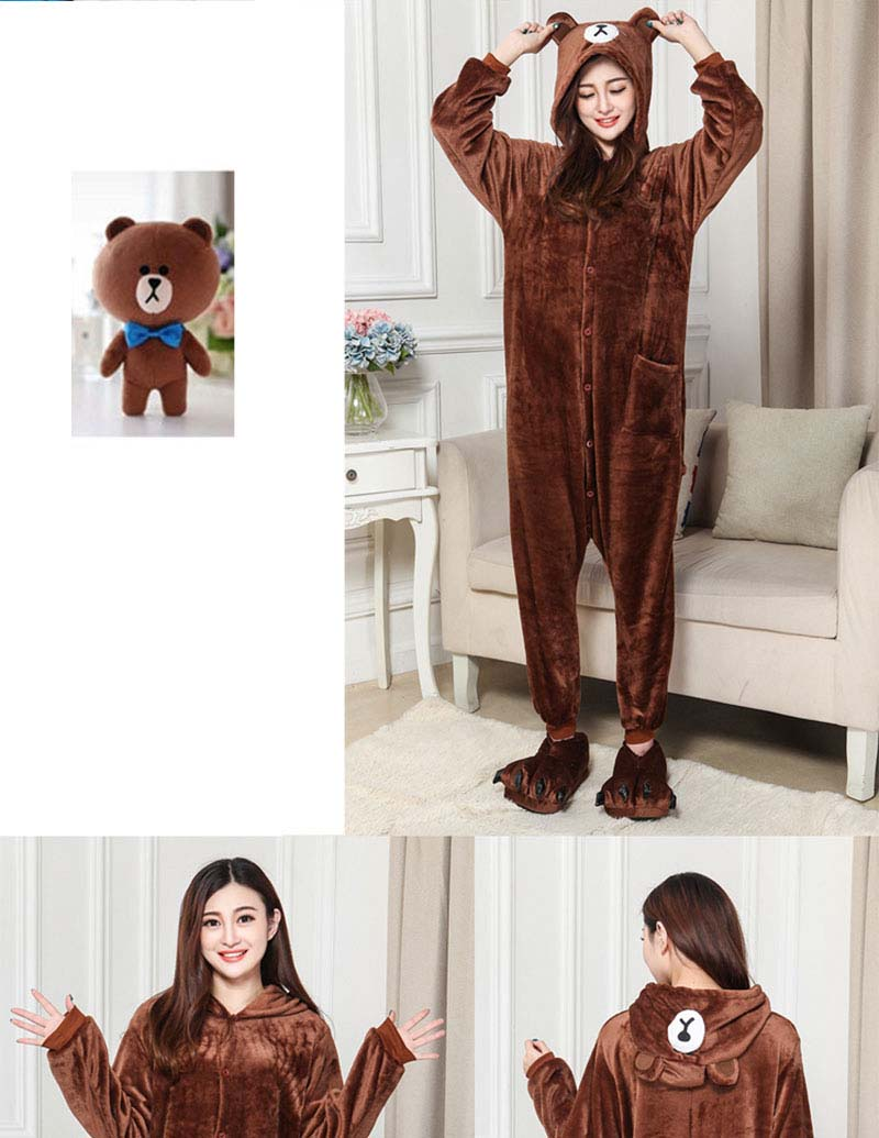 1Kigurumi Brown Bear Onesie Slippers Women Men Adult Animal Costume Cartoon Pajama Funny Festival Party Fancy Suit  (3)