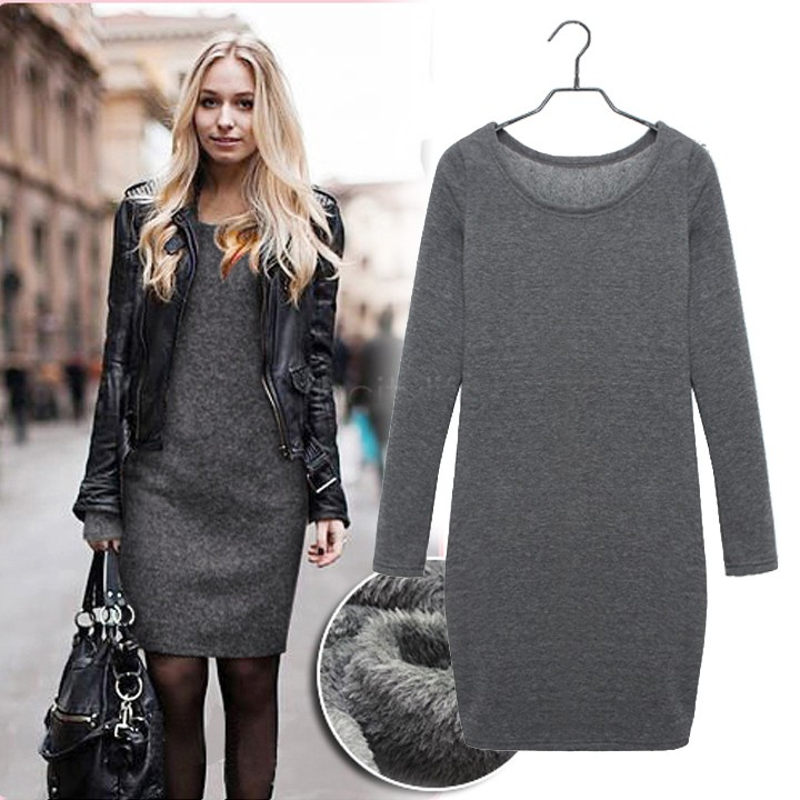 High Quality 2018 New Autumn Women Velvet Dress Long-Sleeve Slim Clothed Female Clothes ,M-XXL 3 Colors 24