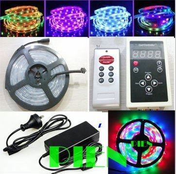 все цены на Magic dream color led strip RGB 5050 6803 5M 16.4Ft tiras tape 133 Color Change+RF Remote Controller+Power adapter DHL 5set онлайн