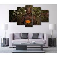 5 Piece Wall Art Pictures Printed Buddha Art Painting Canvas Art Landscape Oil Painting Modular Posters Prints Quadros Unframed