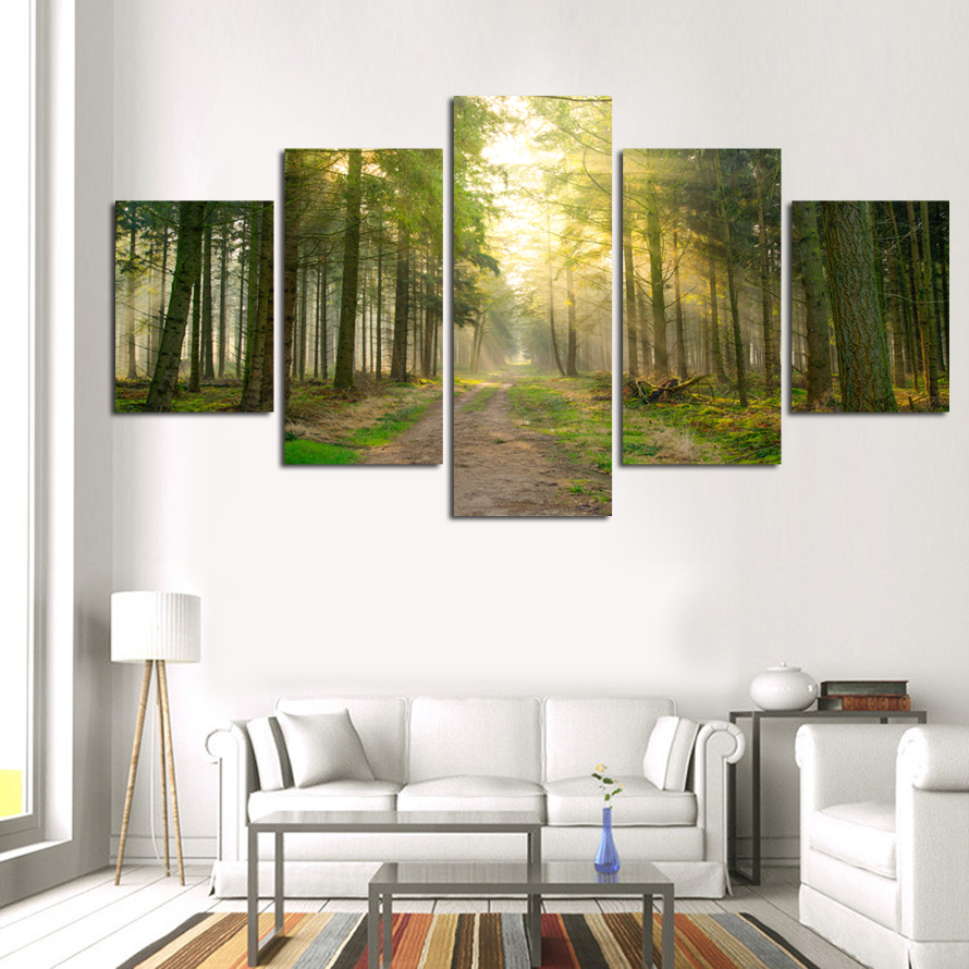 Fashion Canvas Painting Trees 5 Piece Canvas Picture Print