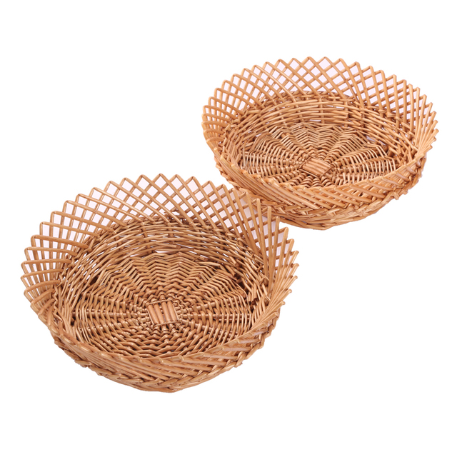Wicker Basket Fruit Basket Bread Tray Storage Basket, Fruit Bowl, Round Stackable  Basket,
