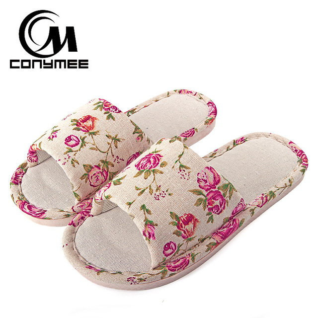 b3fecd15bc3 CONYMEE 2018 Summer Shoes Women Stylish Flat Sandals Indoor Home Slippers  For Men Women Floral Flip Flops Non-slip Flax Slipper