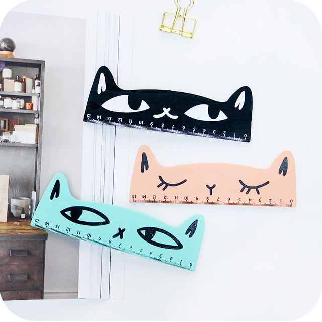 4 Colors Cute Cat Wooden Ruler Straight Office Stationery Supplies Scale For School Measuring