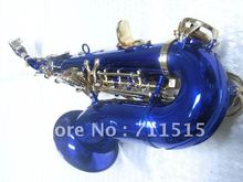 Wholesale small bend soprano saxophone in B flat blue body golden key