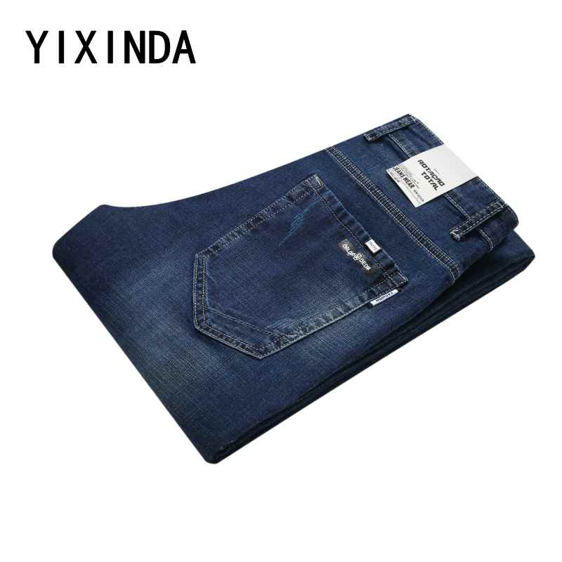 YIXINDA Men Jeans Business Casual Thin Summer Straight Slim Fit Light Blue Jeans Stretch Denim Pants Cowboys Young Man Homme