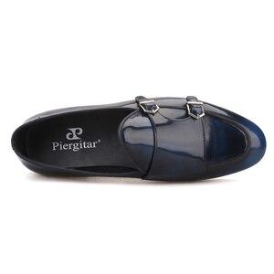 Image 4 - Piergitar zapatos de piel de becerro hechos a mano con hebilla de metal para hombre, mocasines de moda para fiesta y boda, zapatillas para fumar de talla grande