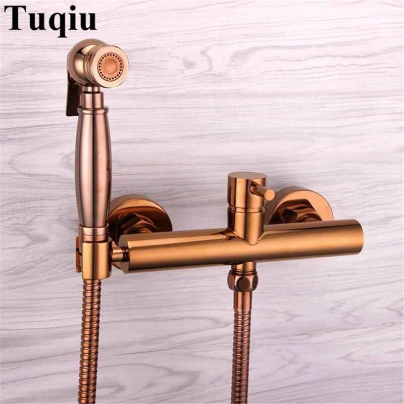 New arrival hot sale rose gold bidet faucet high quality brass wall mounted  bathroom bidet faucet set with 1.5M plumbing hose 15e7c43a0