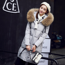 2016 Winter New Fashion Slim Long Section Hooded Hair Collar Warm Thicken Solid Color Women Down Cotton Coat Femme Jacket