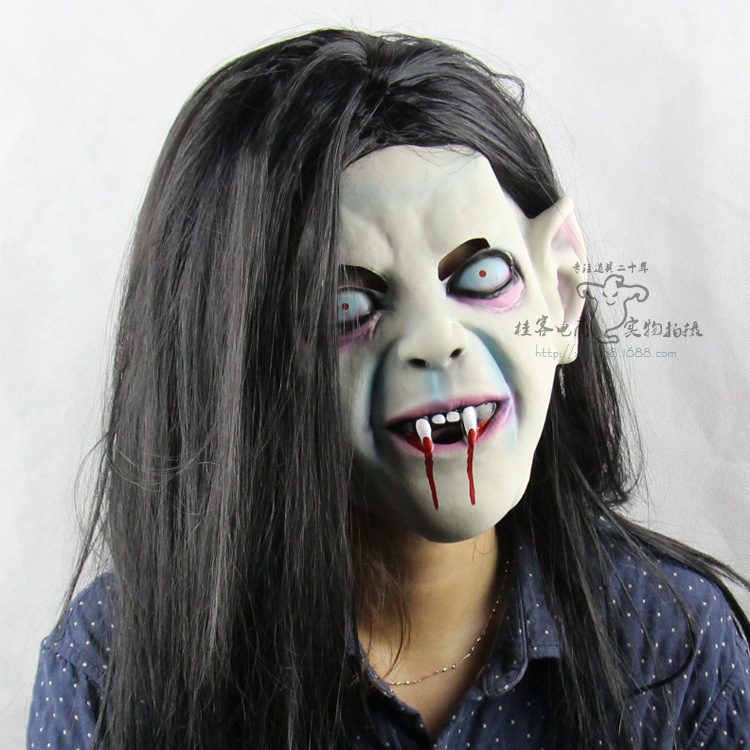 Hot Sale Party Masks Long Hair Devil Full Head Halloween Mask Scary Ghost Cosplay Prank Prop For Costume Carnival Parties,