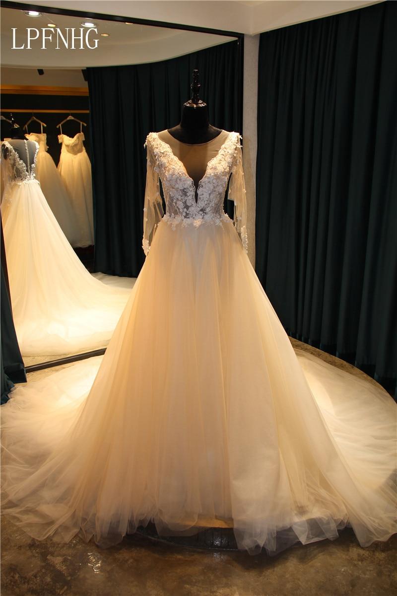 Una línea de vestidos de novia de encaje 2017 con cuello en V de - Vestidos de novia