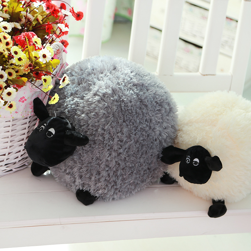 Funny Cute Sheep Pillow Cushion Plush Toys Soft Comfort Cushion Stuffed Dolls Baby Kids Cartoon Gift White/Gray 25cm