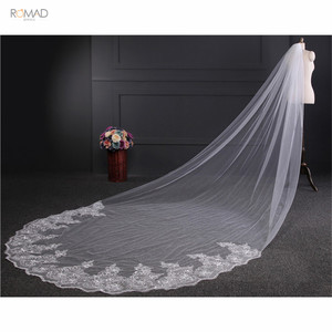 Image 3 - Romad 4 Meter White Ivory Cathedral Wedding Veils Lace Bling Sequins Long Bridal Veils With Comb Wedding Accessories W3
