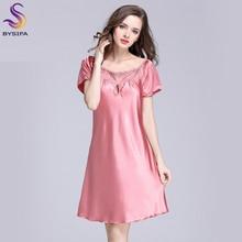 2017 New Sweet Young Women Silk Nightgown Printed Fashion Knee-length Girl Sleepwear Summer Ladies Sleepshirts Pink,Camel,Blue