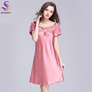 Image 4 - 2020 New Sweet Young Women Silk Nightgown Printed Fashion Knee length Girl Sleepwear Summer Ladies Sleepshirts Pink,Camel,Blue
