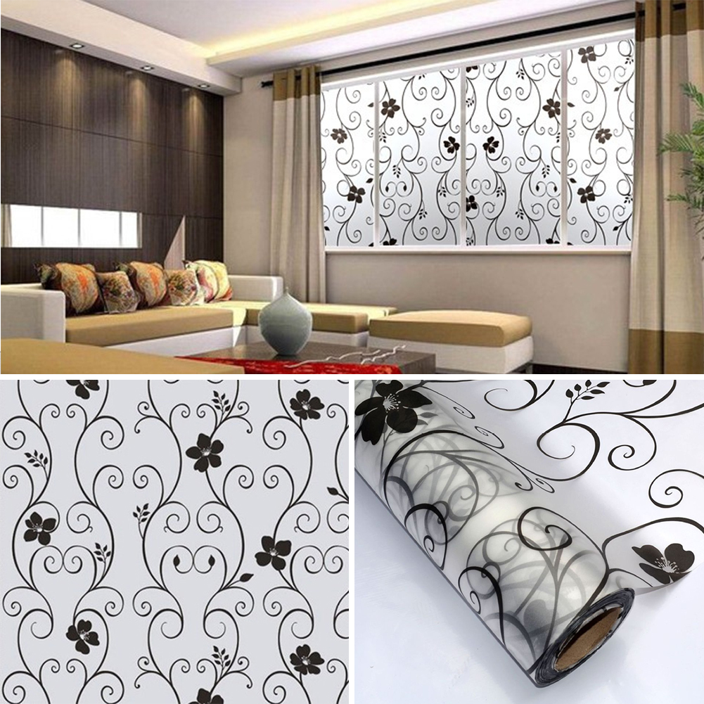Sweet 45x100cm Frosted Privacy Cover Glass Window Door Black Flower Sticker  Film Adhesive Office Decor In Wall Stickers From Home U0026 Garden On  Aliexpress.com ...