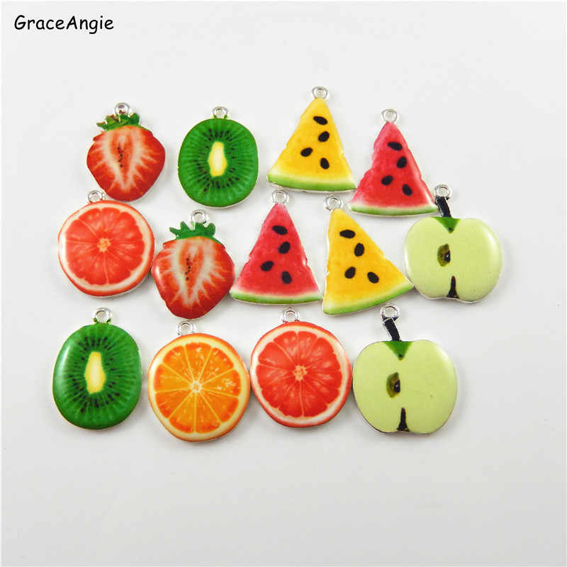 GraceAngie 10pcs/pack Zinc Alloy Fruit Style Necklace Watermelon Shape Creative Pendant Charm Bracelet Enamel Jewelry Crafts
